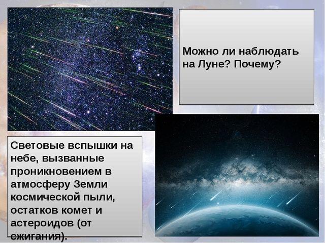 Световые вспышки на небе, вызванные проникновением в атмосферу Земли космичес...
