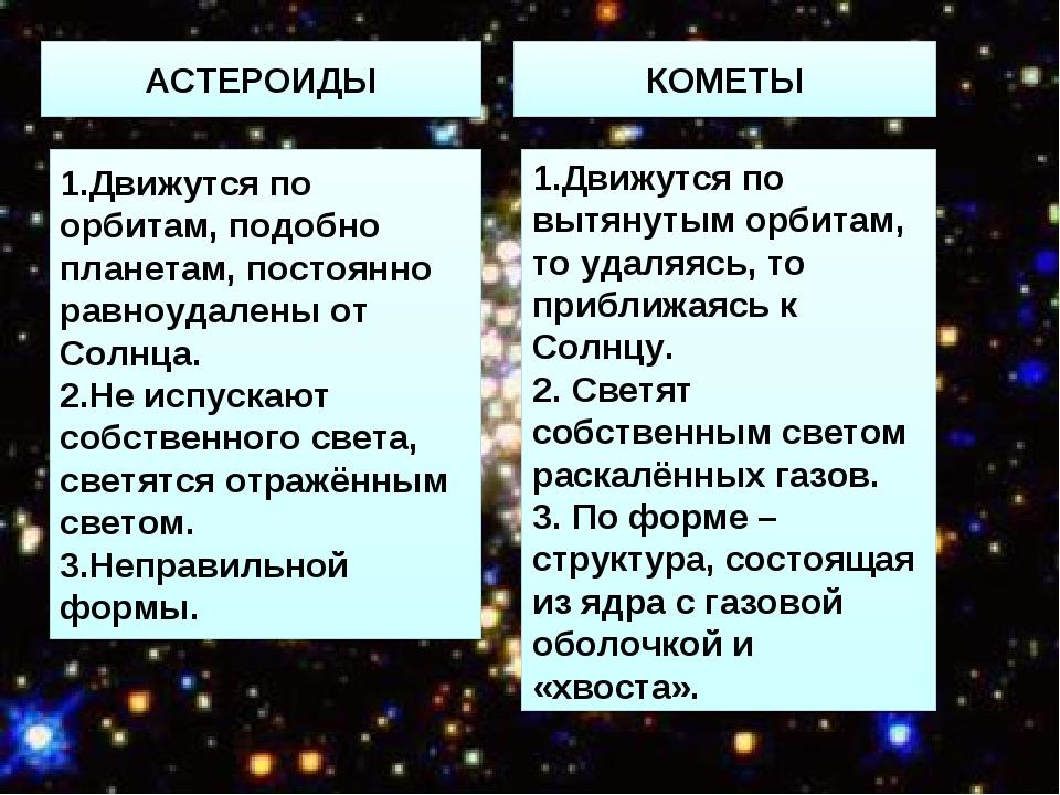 АСТЕРОИДЫ КОМЕТЫ 1.Движутся по орбитам, подобно планетам, постоянно равноудал...