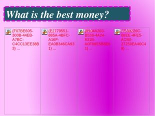 What is the best money?