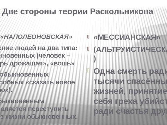 Две стороны теории Раскольникова «НАПОЛЕОНОВСКАЯ» Деление людей на два типа:...