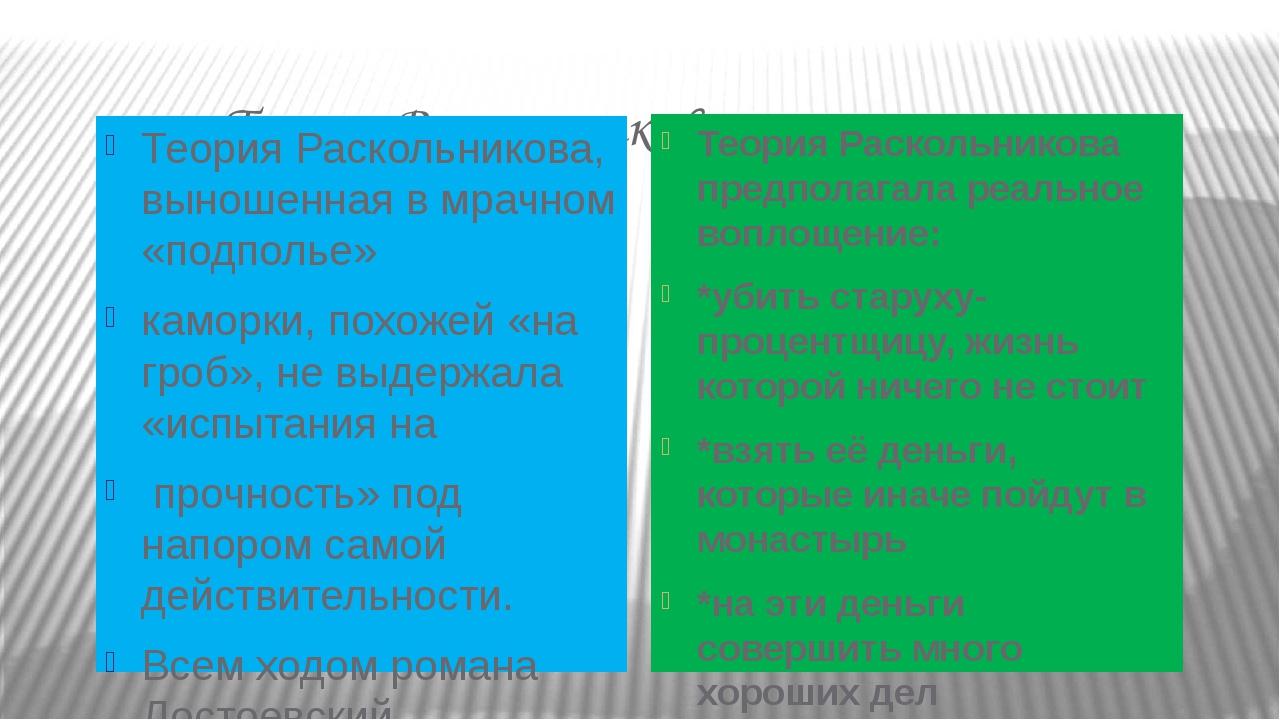 Теория Раскольникова: Теория Раскольникова, выношенная в мрачном «подполье»...