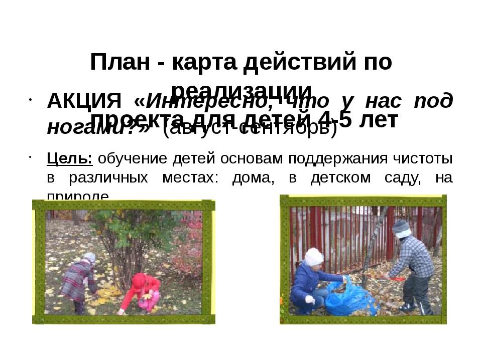 План - карта действий по реализации проектадля детей 4-5 лет АКЦИЯ «Интере...