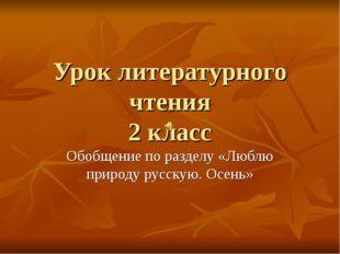Урок литературного чтения 2 класс Обобщение по разделу «Люблю природу русскую