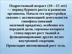 Подростковый возраст (10—15 лет) — период бурногороста и развития организма