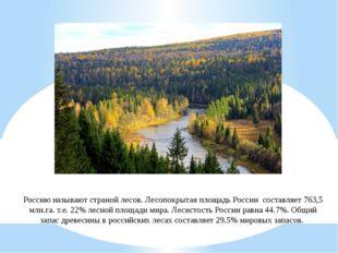 Россию называют страной лесов. Лесопокрытая площадь России составляет 763,5 м