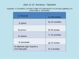 ЗАДАНИЕ: УСТАНОВИТЕ СООТВЕТСТВИЕ РУССКИХ МОНЕТ И СЧЕТНЫХ ЕДИНИЦ ( ПО ОПИСАНИЮ