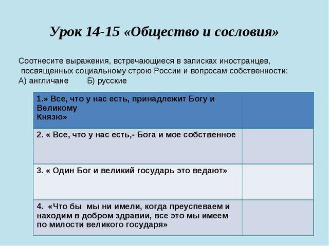 Урок 14-15 «Общество и сословия» Соотнесите выражения, встречающиеся в записк...