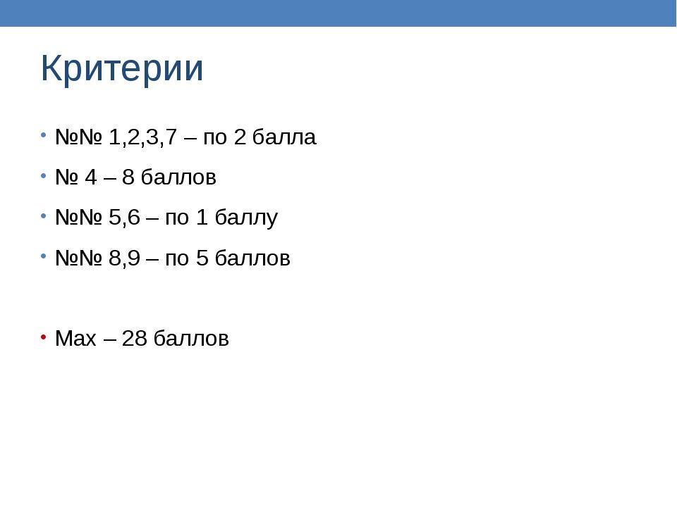 Критерии №№ 1,2,3,7 – по 2 балла № 4 – 8 баллов №№ 5,6 – по 1 баллу №№ 8,9 –...