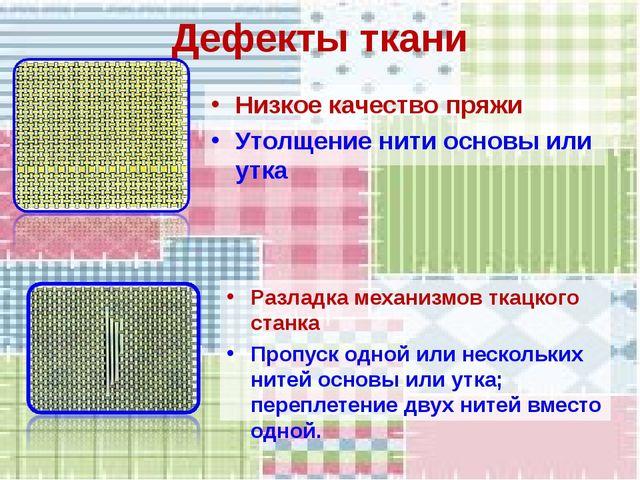 Дефекты ткани Низкое качество пряжи Утолщение нити основы или утка Разладка м...
