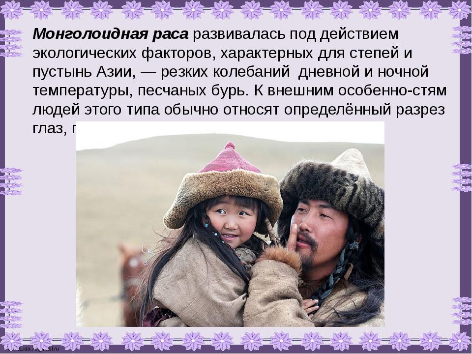 Монголоидная раса развивалась под действием экологических факторов, характерн...