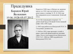 Прадедушка Родился в 1928 года, в Шатуре он закончил школу и в 1941 году пост