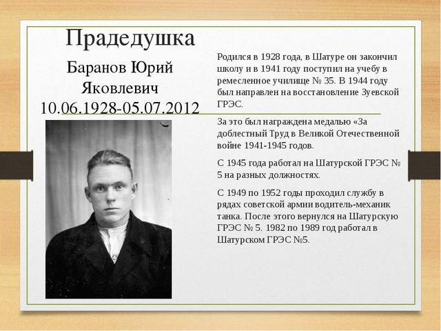 Прадедушка Родился в 1928 года, в Шатуре он закончил школу и в 1941 году пост...