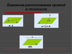 Взаимное расположение прямой и плоскости