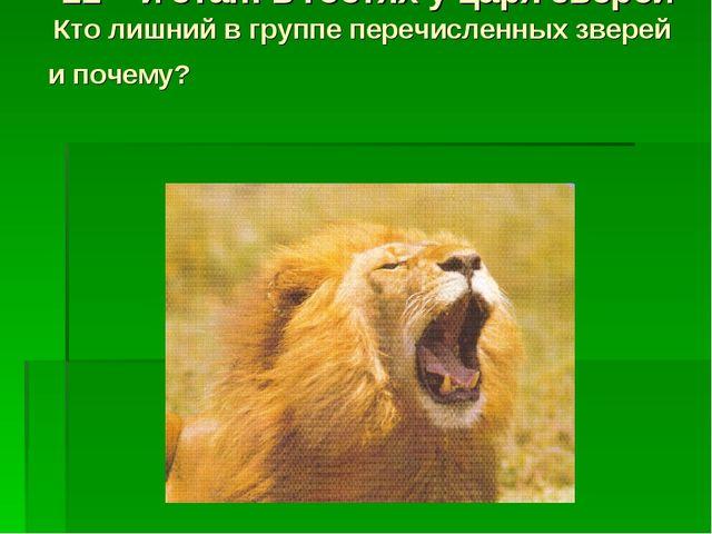 11 – й этап: в гостях у царя зверей Кто лишний в группе перечисленных зверей...