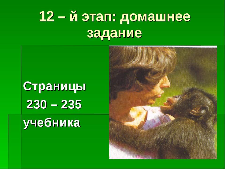 12 – й этап: домашнее задание Страницы 230 – 235 учебника