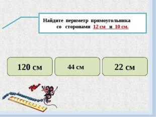 Найдите периметр прямоугольника со сторонами 12 см и 10 см. 120 см 44 см 22 см
