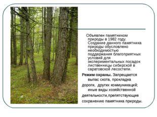 Объявлен памятником природы в 1982 году. Создание данного памятника природы