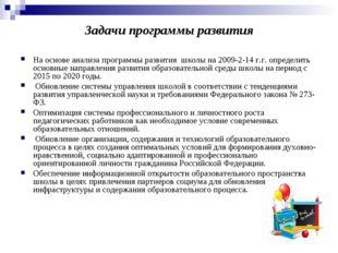 Задачи программы развития На основе анализа программы развития школына 2009-
