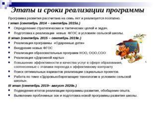 Этапы и сроки реализации программы Программа развития рассчитана на семь лет