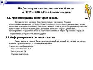 Информационно-аналитические данные о ГКОУ «СОШ №15 с.п.Средние Ачалуки» 2.1.
