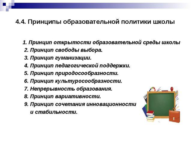 4.4. Принципы образовательной политики школы  1. Принцип открытости образова...
