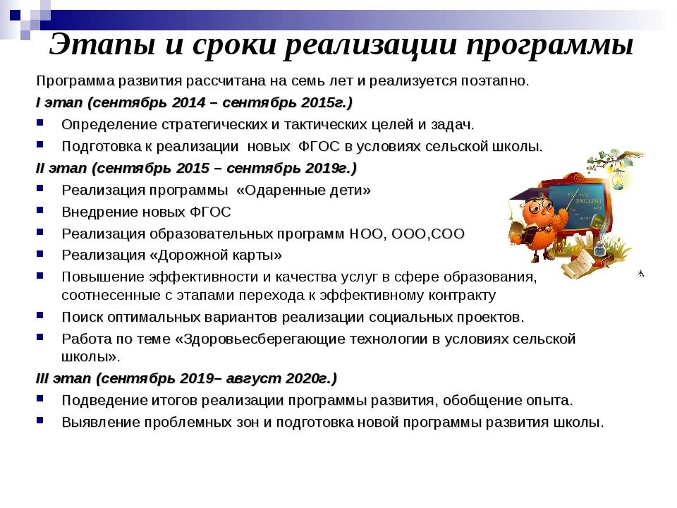Этапы и сроки реализации программы Программа развития рассчитана на семь лет...