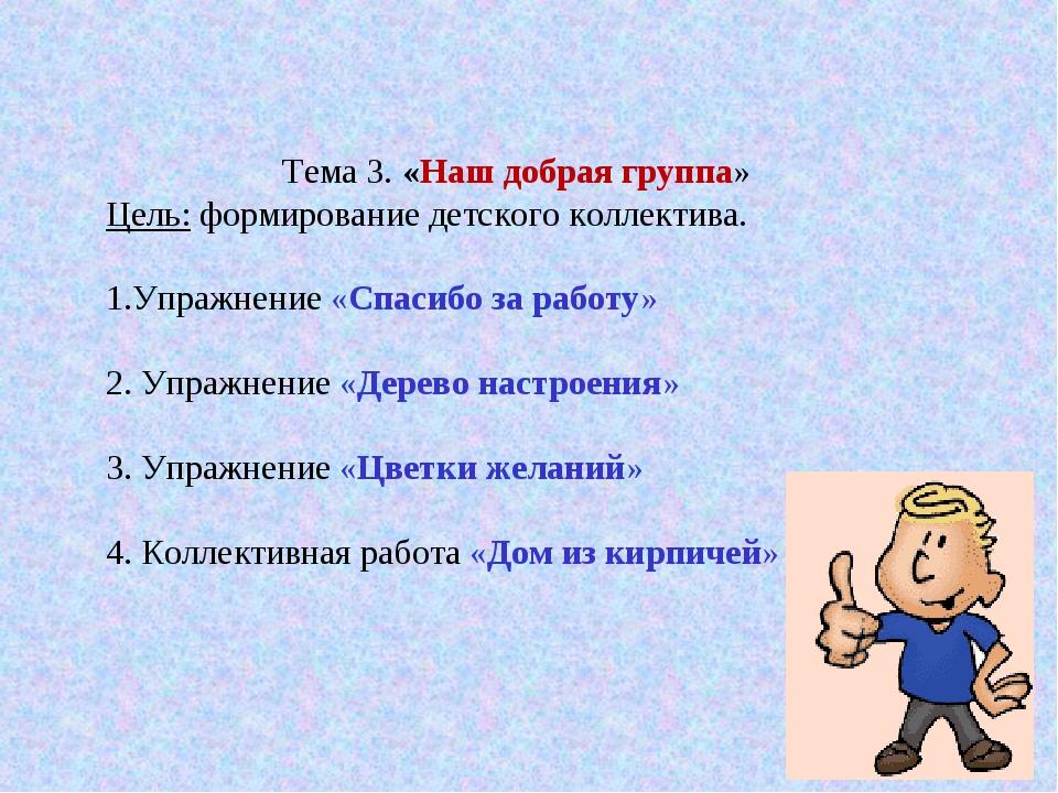 Тема 3. «Наш добрая группа» Цель: формирование детского коллектива. 1.Упражн...