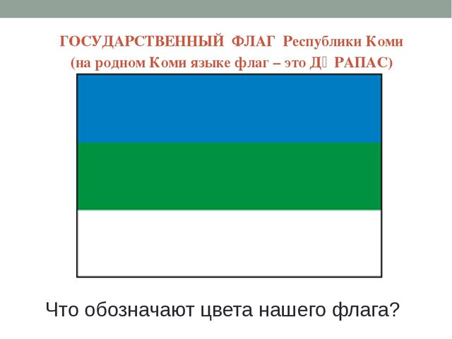 ГОСУДАРСТВЕННЫЙ ФЛАГ Республики Коми (на родном Коми языке флаг – это ДӦРАПАС...
