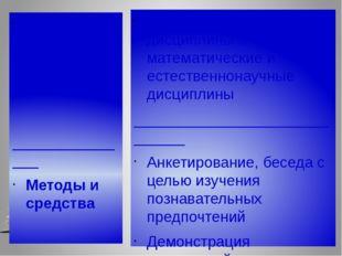 Содержание _______________ Методы и средства Общие гуманитарные дисциплины и