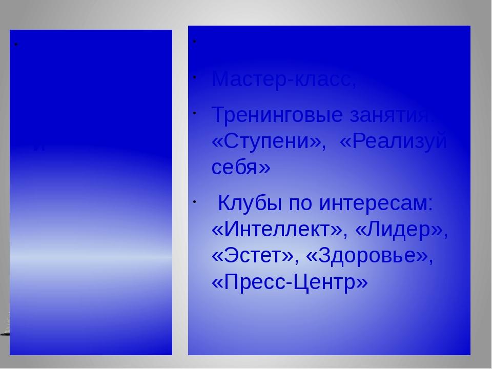 Формы организации внеучебной деятельности Элективные курсы Мастер-класс, Трен...
