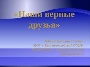 «Наши верные друзья» Работу выполнил 5 класс МОУ « Красновосходской СОШ» Руко