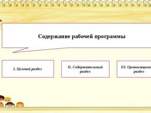 Содержание рабочей программы I. Целевой раздел  II. Содержательный раздел I
