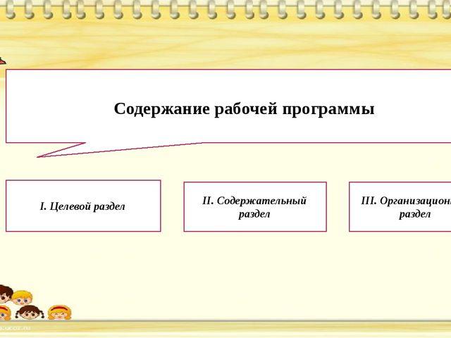 Содержание рабочей программы I. Целевой раздел  II. Содержательный раздел I...
