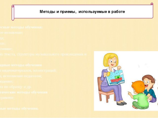 Методы и приемы, используемые в работе 1. Словесные методы обучения: устное и...