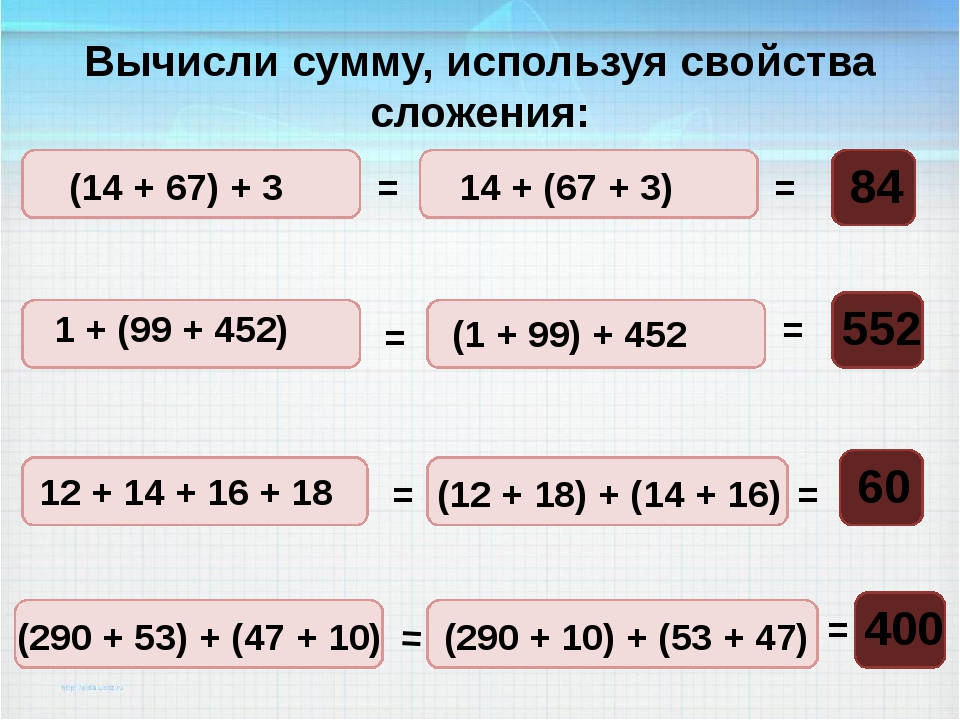 Вычисли сумму, используя свойства сложения: (14 + 67) + 3 = = = = = = = = 14...