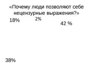 «Почему люди позволяют себе нецензурные выражения?» 38% 42 % 18%