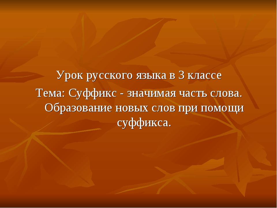 Урок русского языка в 3 классе Тема: Суффикс - значимая часть слова. Образов...