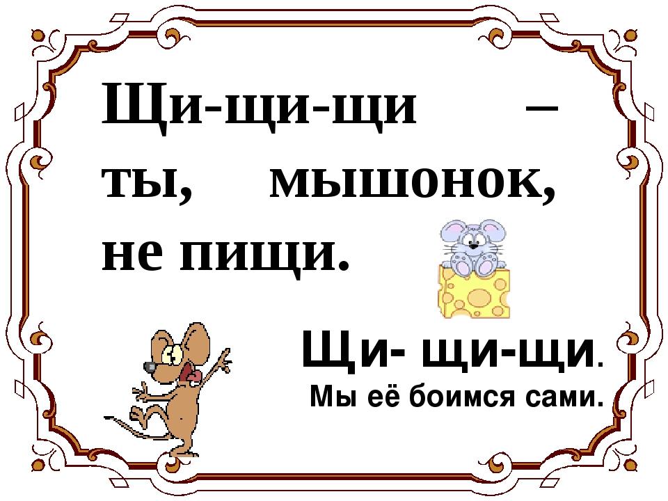 Щи-щи-щи – ты, мышонок, не пищи. Щи- щи-щи. Мы её боимся сами.