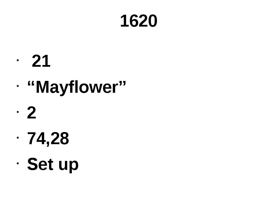"1620 21 ""Mayflower"" 2 74,28 Set up"