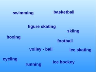 football boxing ice hockey figure skating cycling skiing ice skating basketba