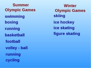 Winter Olympic Games Summer Olympic Games boxing swimming running football ic