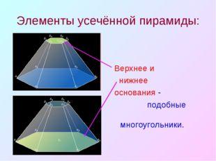 Элементы усечённой пирамиды: Верхнее и нижнее основания - подобные многоуголь