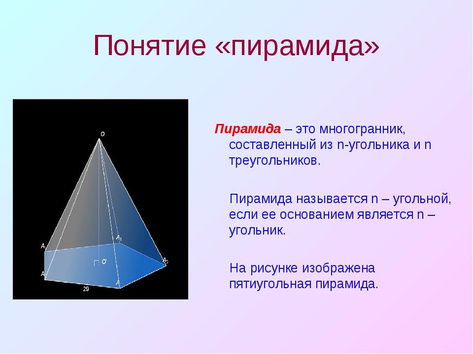 Понятие «пирамида» Пирамида – это многогранник, составленный из n-угольника и...