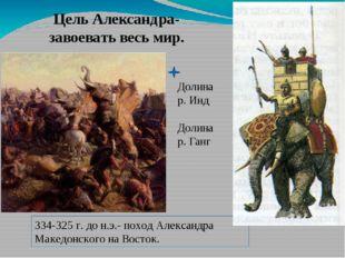 Цель Александра- завоевать весь мир. Долина р. Инд Долина р. Ганг 334-325 г.