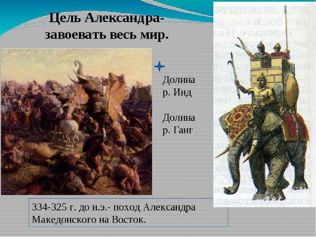 Цель Александра- завоевать весь мир. Долина р. Инд Долина р. Ганг 334-325 г....