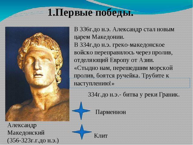 1.Первые победы. В 336г.до н.э. Александр стал новым царем Македонии. В 334г....