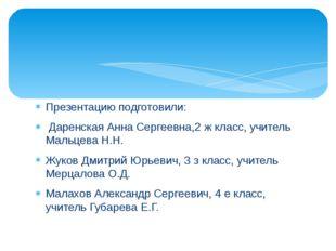 Презентацию подготовили: Даренская Анна Сергеевна,2 ж класс, учитель Мальцева