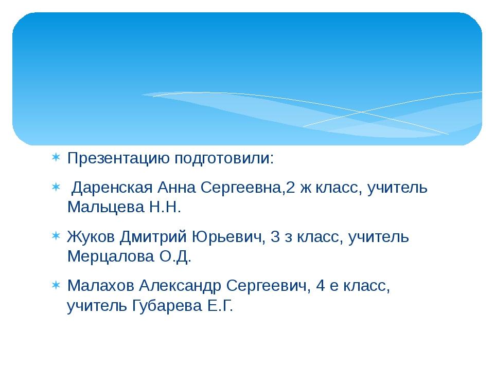 Презентацию подготовили: Даренская Анна Сергеевна,2 ж класс, учитель Мальцева...
