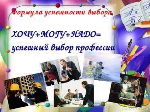 Формула успешности выбора профессии ХОЧУ+МОГУ+НАДО= успешный выбор профессии