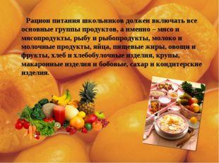 Рацион питания школьников должен включать все основные группы продуктов, а и
